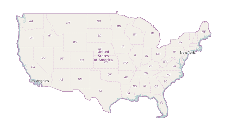 Image illustrating provider locations on a map of the united states